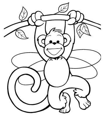free coloring pages animals monkey coloring pages