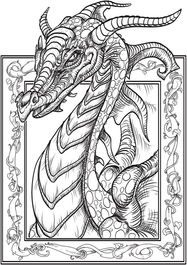 free dragon printable coloring page from dover publications