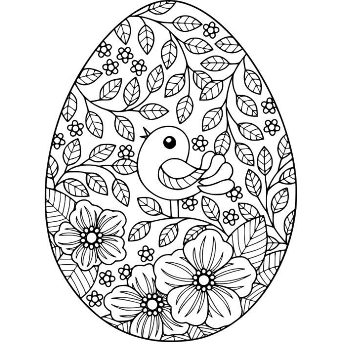 free instant download bird and flowers easter egg coloring