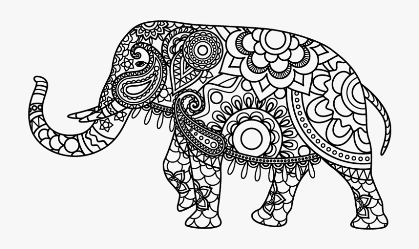 free mandala elephant coloring pages hd png download