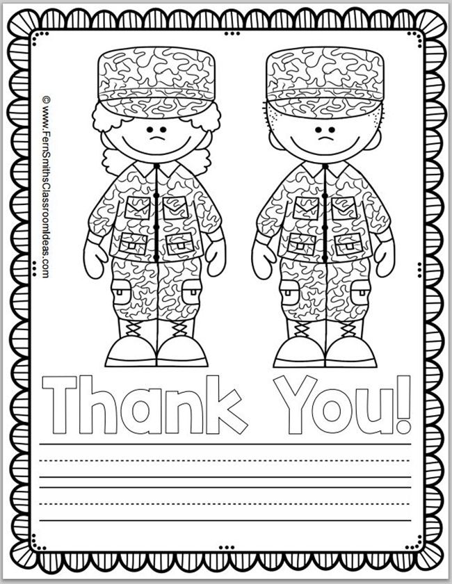 free memorial day coloring page and thank you notes teach
