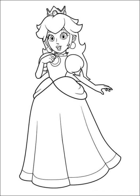 free printable coloring page princess peach super mario