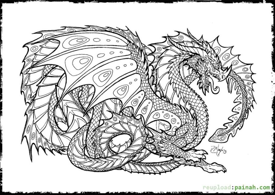 free printable coloring pages for adults dragons