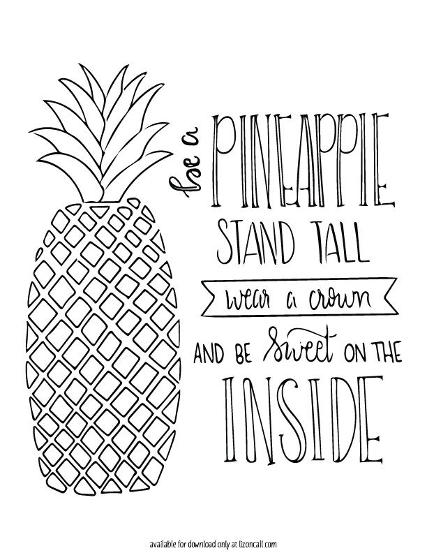 free printable coloring pages pineapple pusat hobi