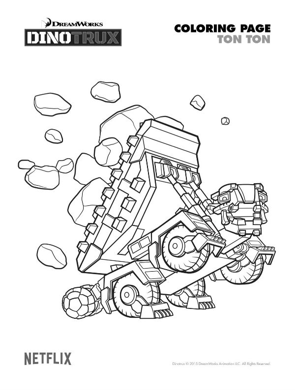 free printable dinotrux ton ton coloring page coloring