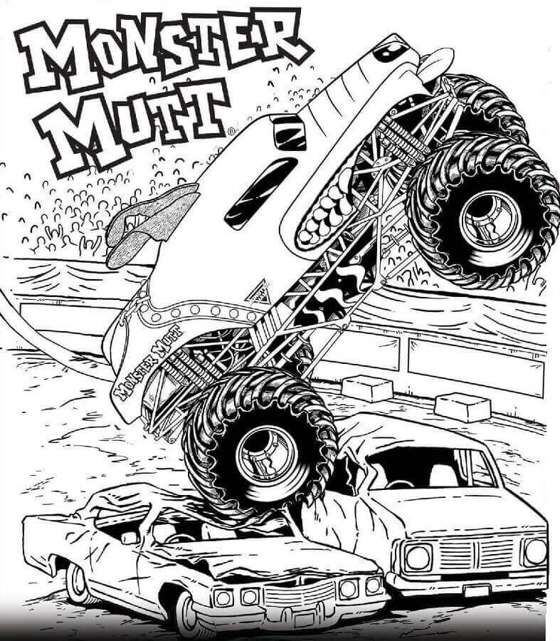 free printable monster jam coloring pages monster mutt