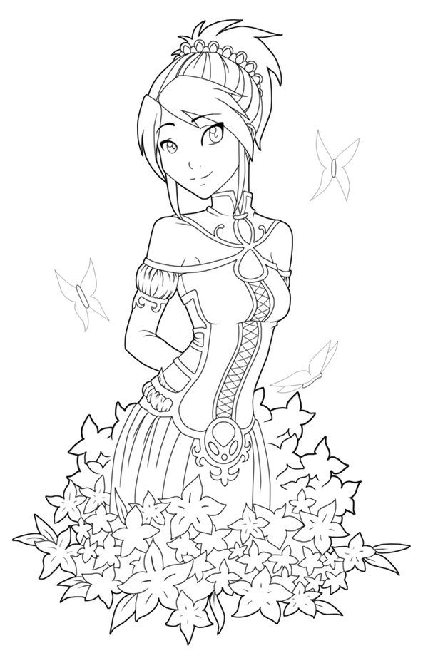 free printables anime style characters coloring pages