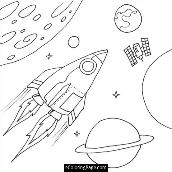 free space rocket and planets coloring page for kids