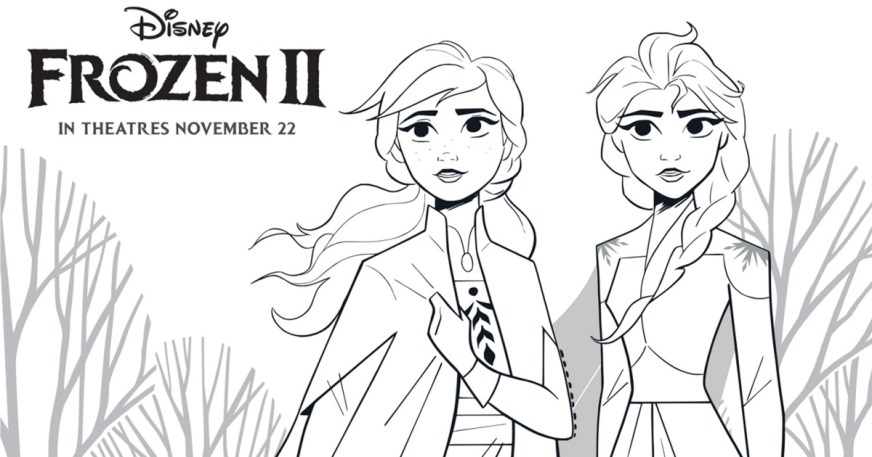 frozen 2 free printable anna and elsa coloring page mama