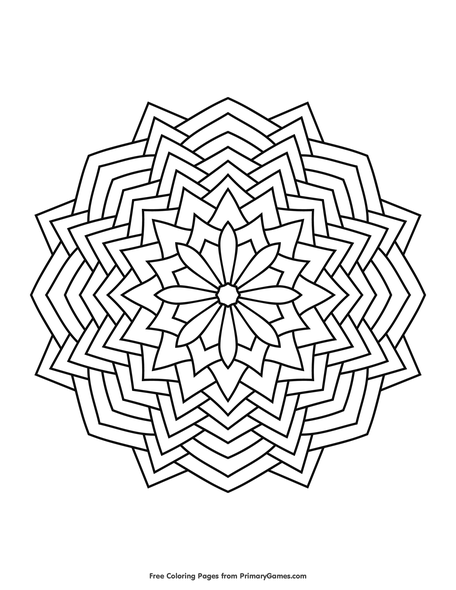 geometric mandala coloring page free printable ebook