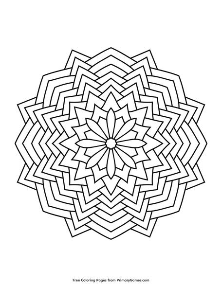 geometric mandala coloring page free printable ebook