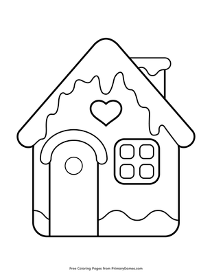 gingerbread house coloring page free printable pdf from
