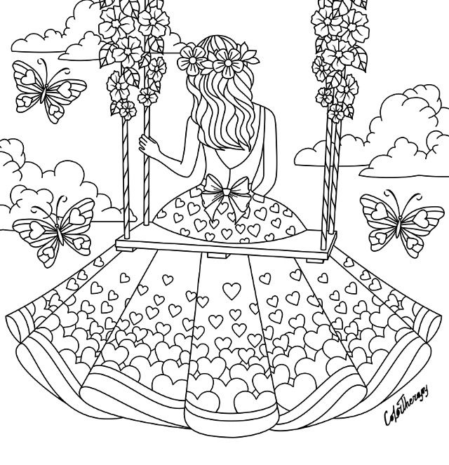 girl sitting on a swing coloring page coloring pages for