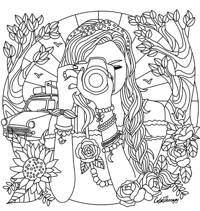 girl with a camera coloring page coloring pages for girls