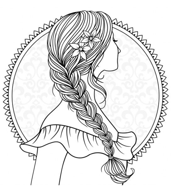 girl with plaited hair to colour recolor app pattern