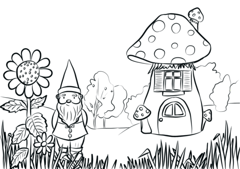 gnome in the garden coloring page free printable coloring