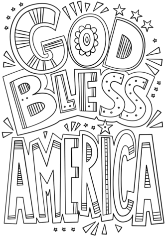 god bless america doodle coloring page free printable