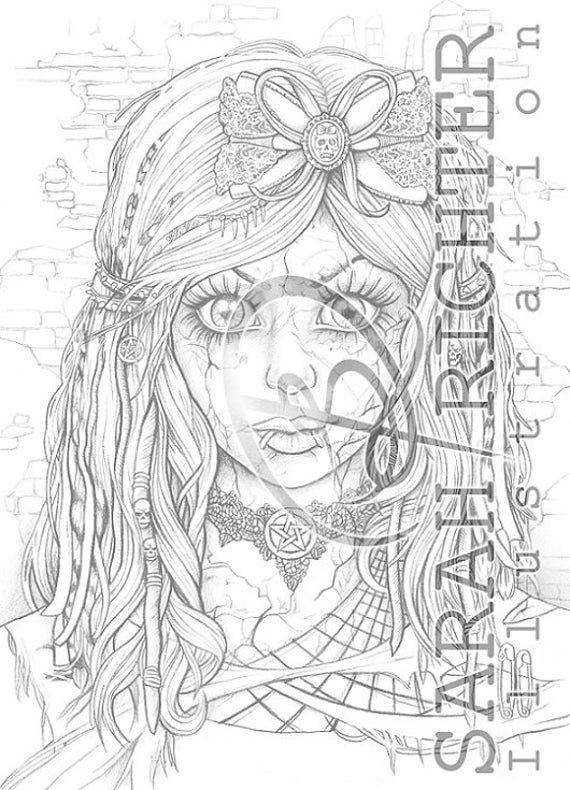 gothic doll coloring page gothic fantasy von sarah richter