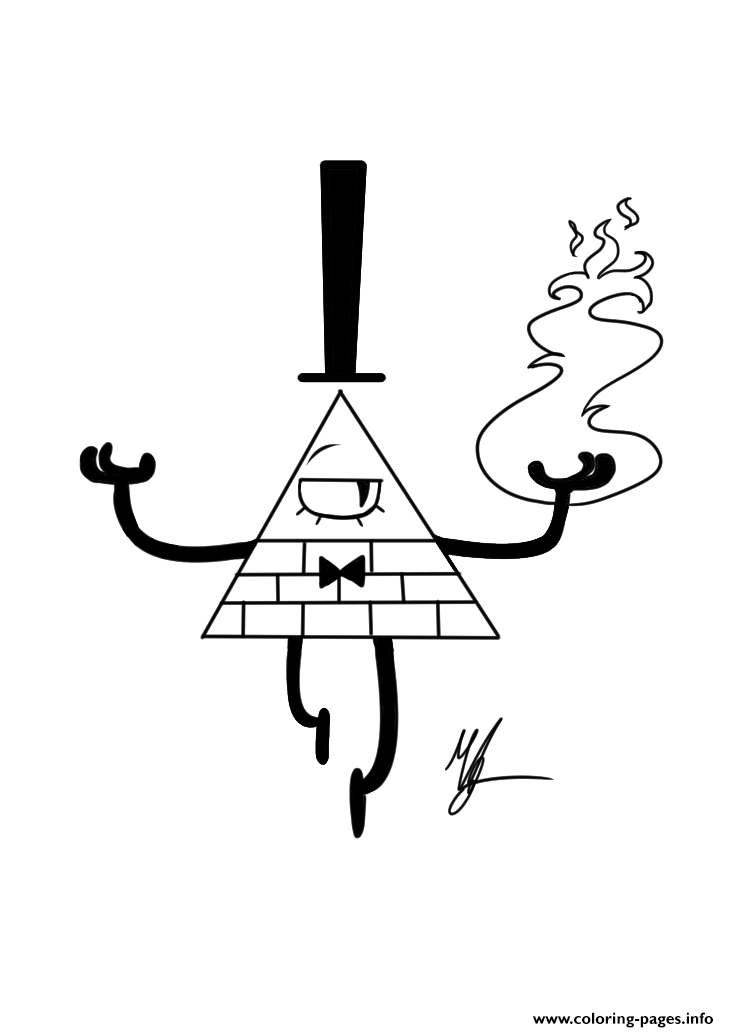 gravity falls bill cipher fire coloring pages printable