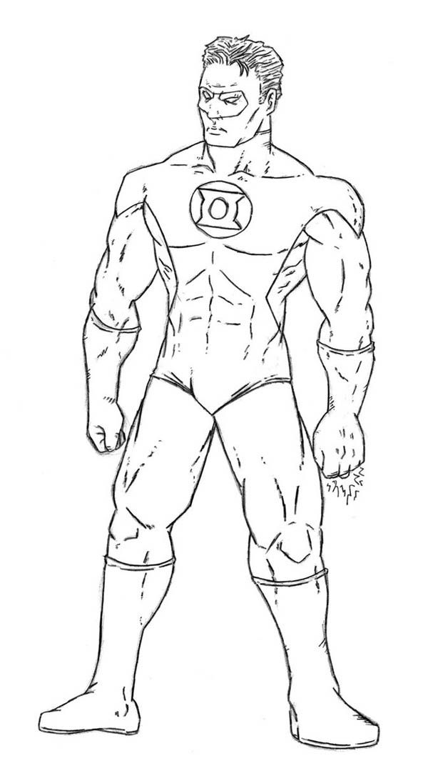 green lantern is ready for the enemy coloring page free