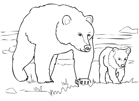 grizzly bear family coloring page free printable coloring