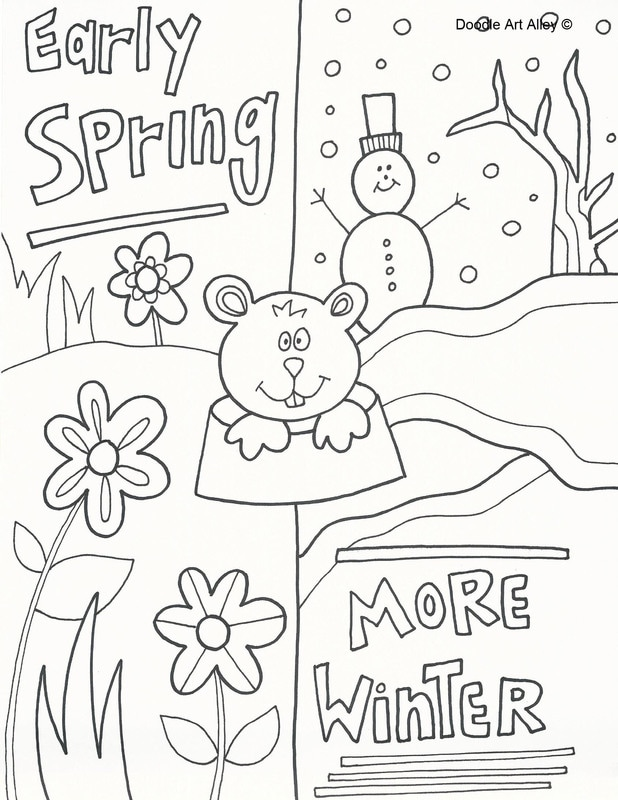 groundhog day coloring pages doodle art alley