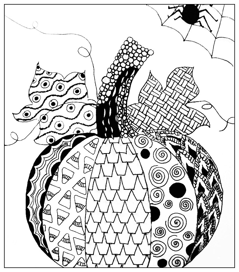 halloween simple pumkin drawing halloween adult coloring pages