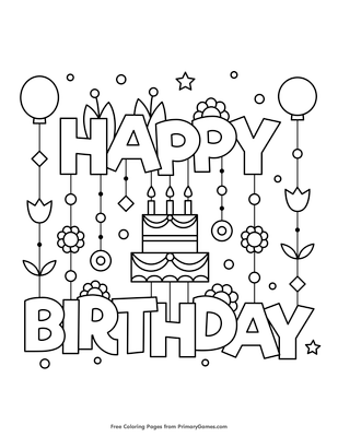 happy birthday coloring pages that you can print pusat hobi