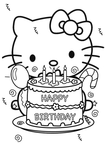 happy birthday hello kitty coloring page free printable