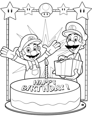 happy birthday mario coloring page free printable coloring
