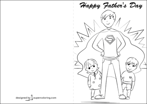 happy fathers day card coloring page free printable