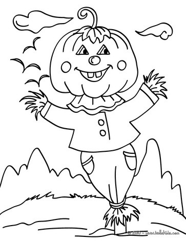 happy halloween scarecrow coloring pages hellokids