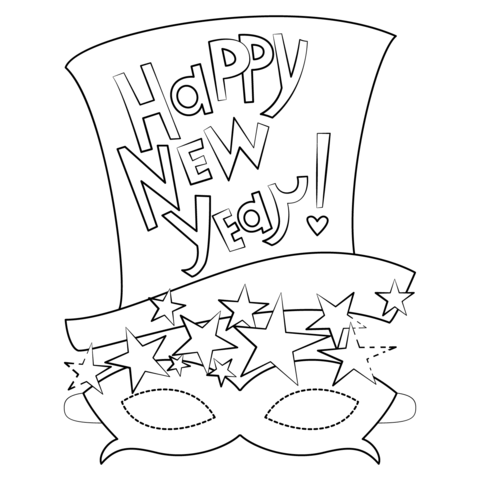 happy new year mask coloring page free printable coloring