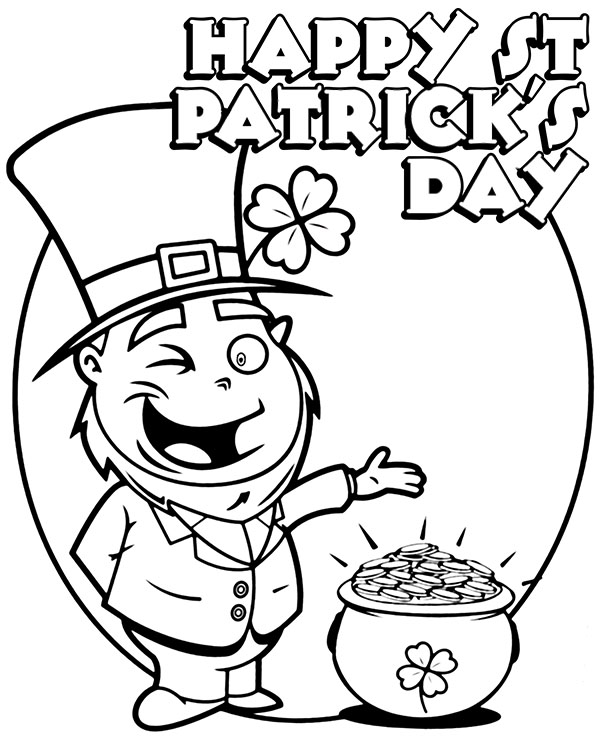 happy st patricks day card to print for coloring