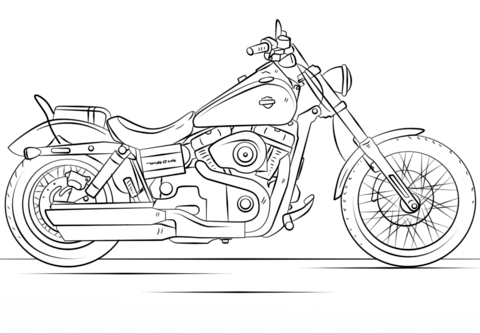 harley davidson motorcycle coloring page free printable