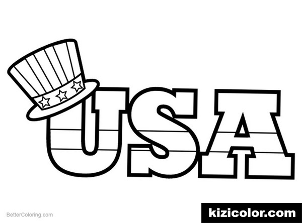 hat of patriotic kizi free coloring pages for children