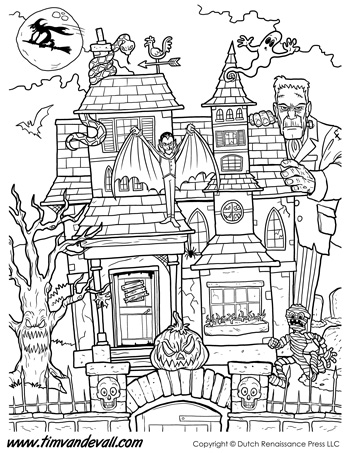 haunted house coloring page tims printables