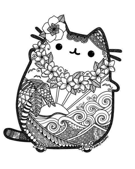 hawaii pusheen lxoetting pusheen cat coloring page