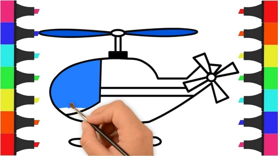 helicopter coloring colors for kids with vehicles video
