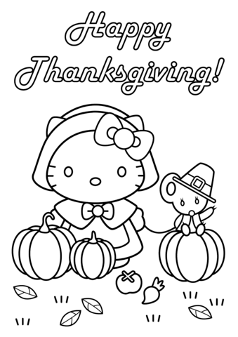hello kitty happy thanksgiving coloring page free