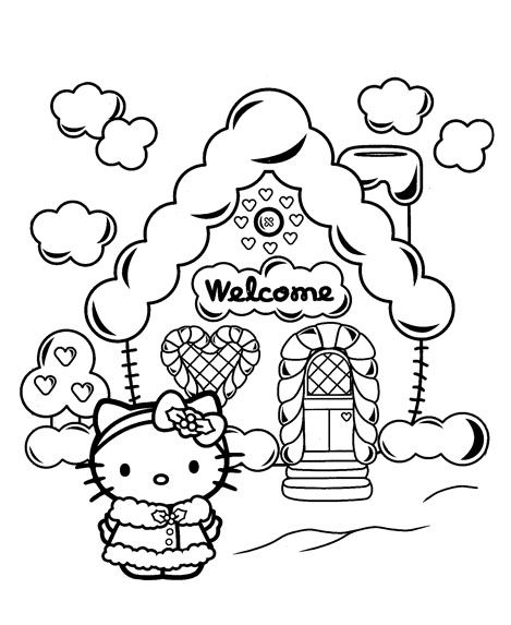 hello kitty with a gingerbread house hello kitty coloring