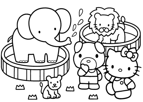 hello kitty zoo coloring page free printable coloring pages