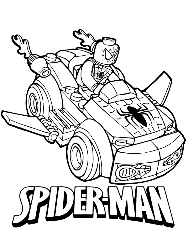high quality lego spiderman coloring page to print for free