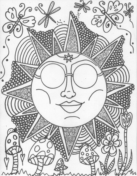 hippie sun butterfly dragonfly abstract doodle zentangle