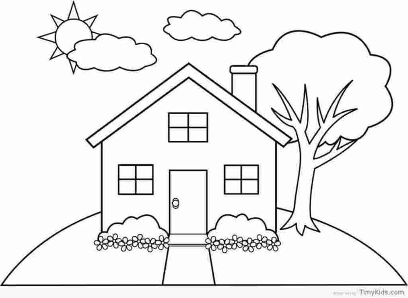 house coloring pages for toddlers free printable house