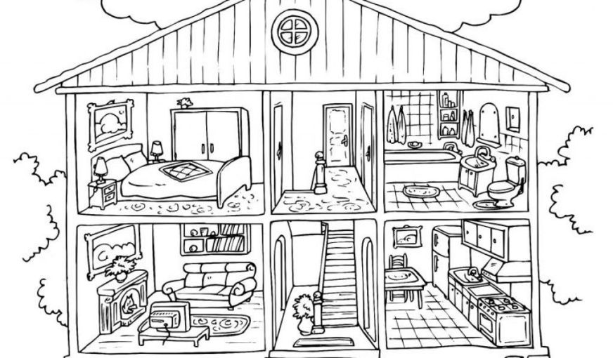 house coloring pages inside house coloring page funny