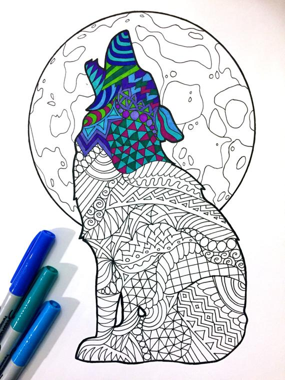 howling wolf pdf zentangle coloring page