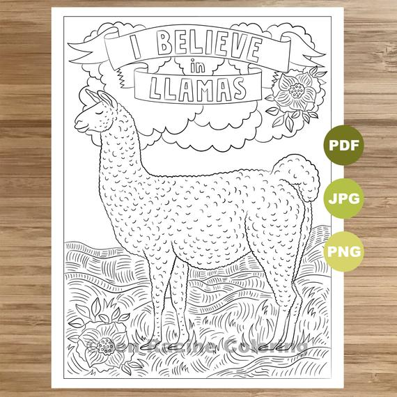 i believe in llamas coloring page llama art coloring book printable coloring pages for adults coloring pages for kids