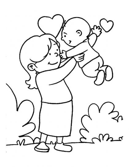 in the loving care of her mom coloring page download free