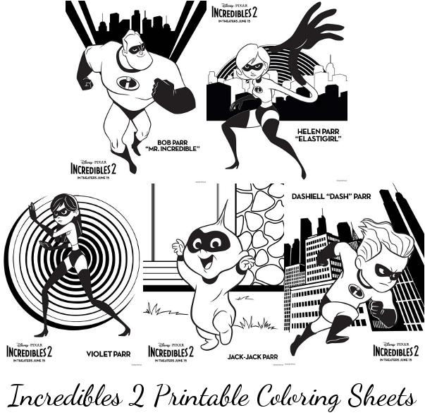 incredibles 2 printable coloring sheets momstart